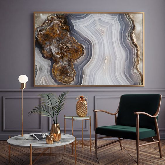 agate slate printed artwork in a gilded frame will add elegance to your interior