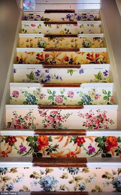 beautiful floral stairs, different for each step for a cute look