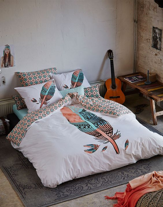 geo and indy feather printed bedding set in turquoise and pink