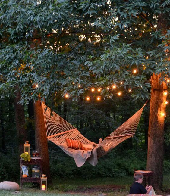 some LEDs over the hammock for a cozy and inviting look