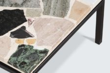 27 a coffee table with a terrazzo top inlaid with marble, quartz, and granite