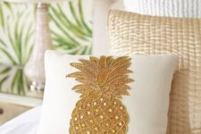 27 embroidered pineapple pillow with beading