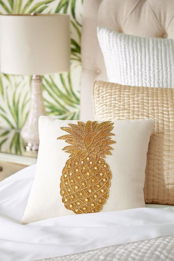 embroidered pineapple pillow with beading