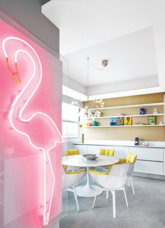 neon pink flamingo sign for a chic modern kitchen