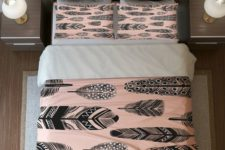 28 blush and grey feather print bedding feels boho