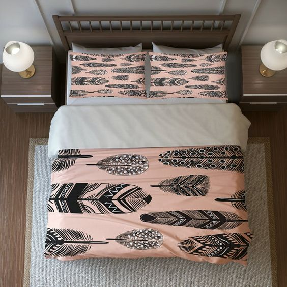 blush and grey feather print bedding feels boho