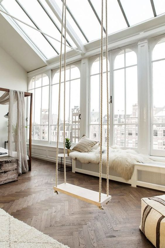 make your bedroom more relaxing and dreamy with a swing, even if you don't use it, it will add a special vibe