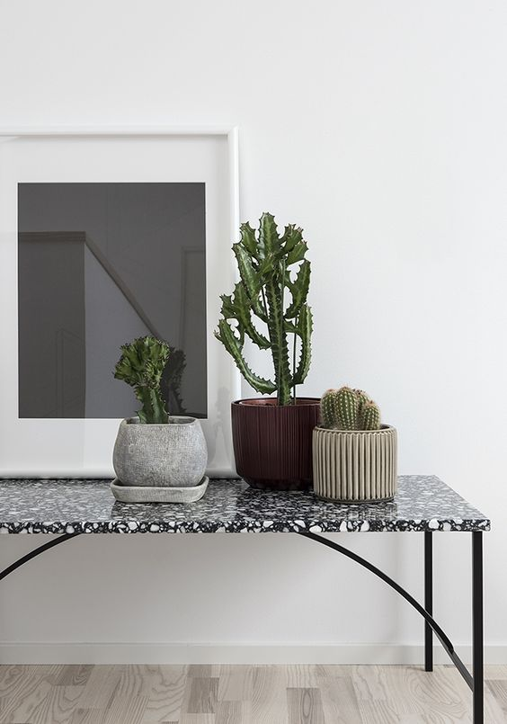 black and white terrazo console table looks very noble and stylish