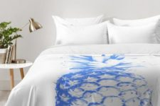 29 modern blue pineapple print on your duvet will remind of holidays