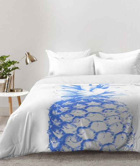 modern blue pineapple print on your duvet will remind of holidays