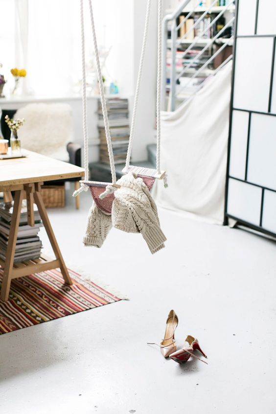 make your own indoor swing as a storage for various light pieces, and it will give a dreamy feel to the room