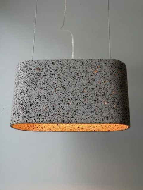 dark terrazzo pendant lamp is a unique idea