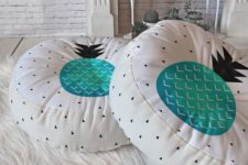 31 round white floor pillow with geo prints and turquoise pineapples