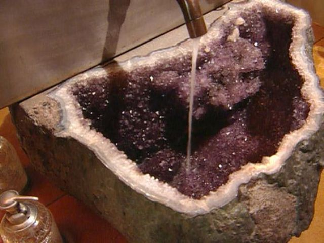 amethyst geode sink for a bathroom just blows the mind away