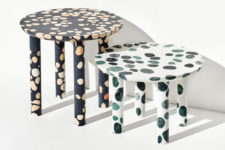 33 white and black terrazzo tables with green and beige inserts