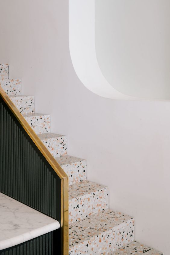 a terrazzo staircase looks cool, fresh and is very durable, you won't need to change it fast