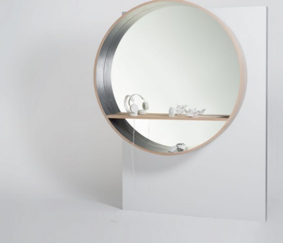 Mirror Console with a display shelf (via www.digsdigs.com)