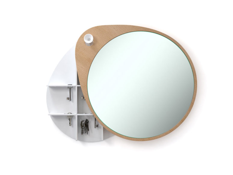 Egg mirror with a storage cabinet (via design-milk.com)