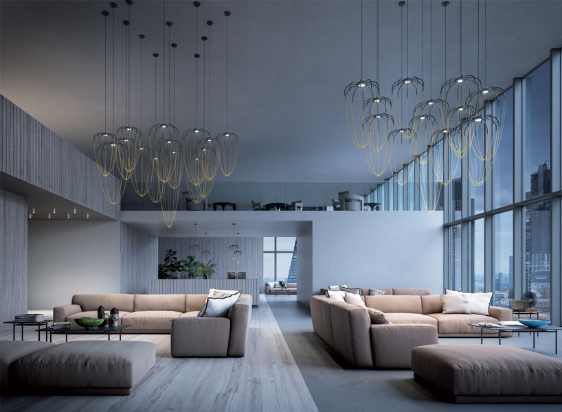 Alysoid suspension lamps were inspired by geometry and architecture and remind of some ceiling jewelry