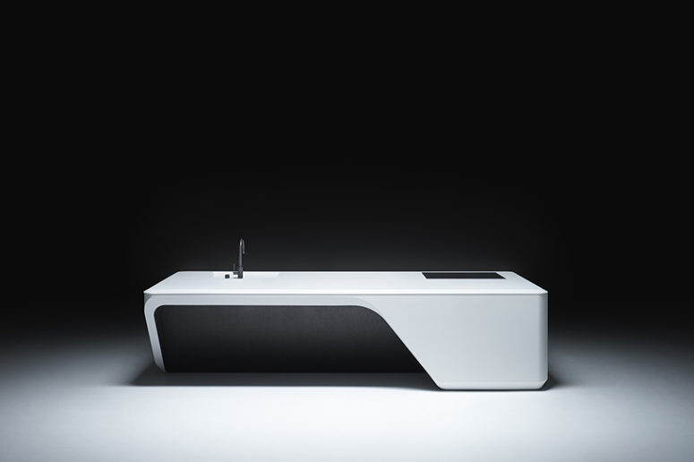 Minimalist Cove Kitchen Island By Zaha Hadid Design