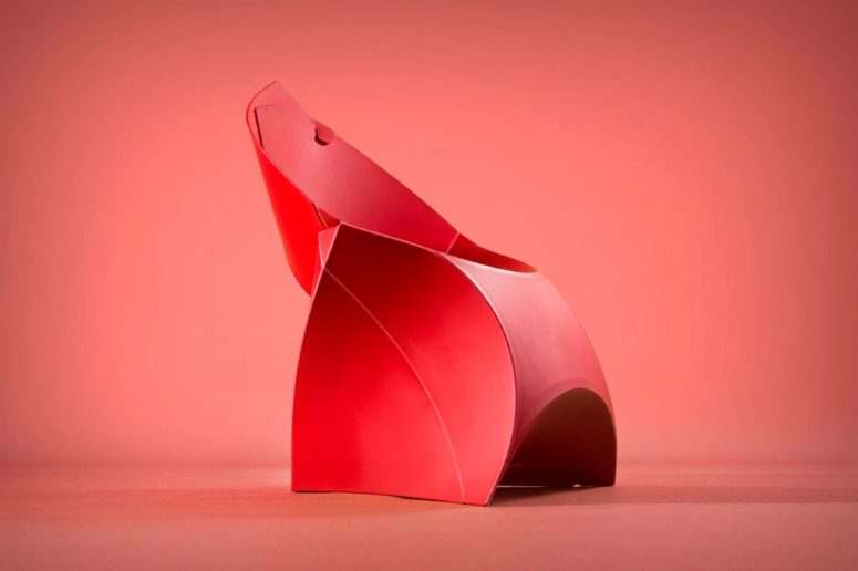 Flux is a unique furniture piece that combines an origami look, portability, ergonomics and comfort in one