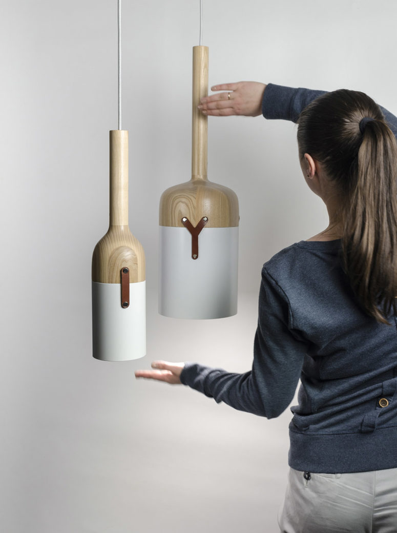 Nut C pendant lamp collection has a cool bottle resembling design and is made of a unique blend of materials, which aren't characteristic for lamps
