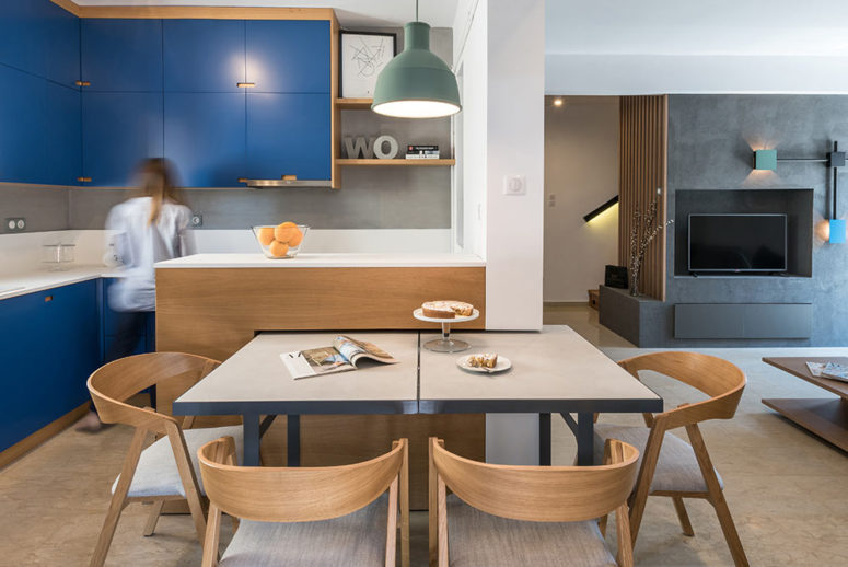 This contemporary duplex in Greece is designed with style and modern chic