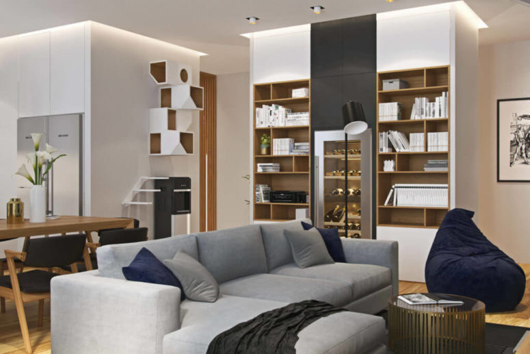 Modern Apartment With A Muted Color Palette, Marble And Wood