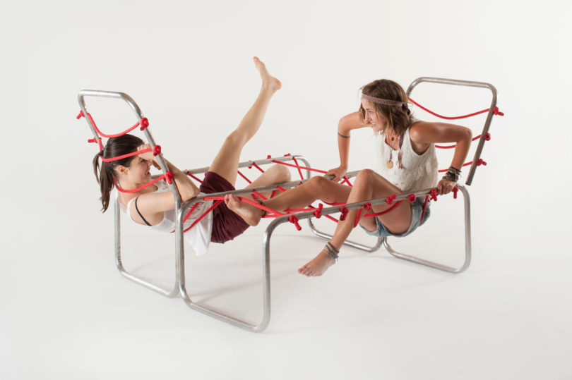 The furniture includes metal frames and red ropes, and it's interconnected so that you looked for equlibrium