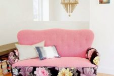 02 a loveseat with mixed upholstery in geo pink and large blooms in the black backdrop adds a glam touch