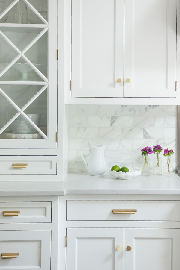 Brass handles and marble make the space more refined and glam, which is perfect for a girlish space