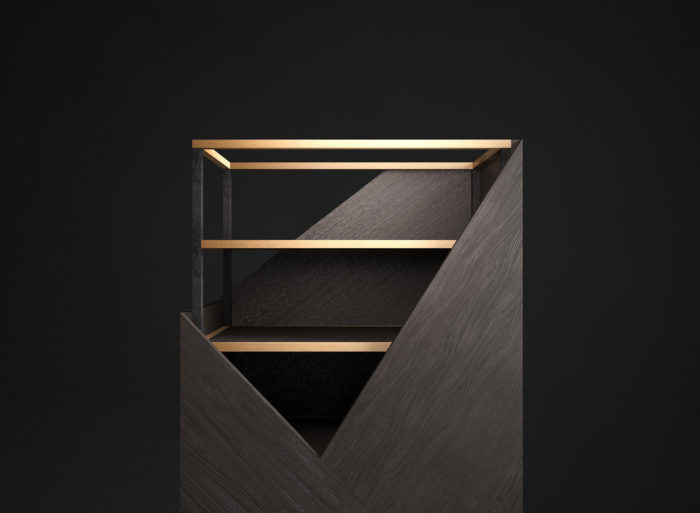 Dark wood accentuated with brass detailing looks refined and chic, this cabinet will definitely bring style in