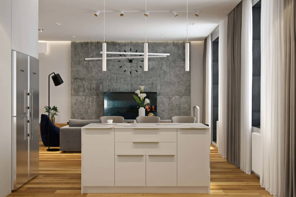 Textures added interest to the space, and cool modern light fixtures highlighted everything in a perfect way