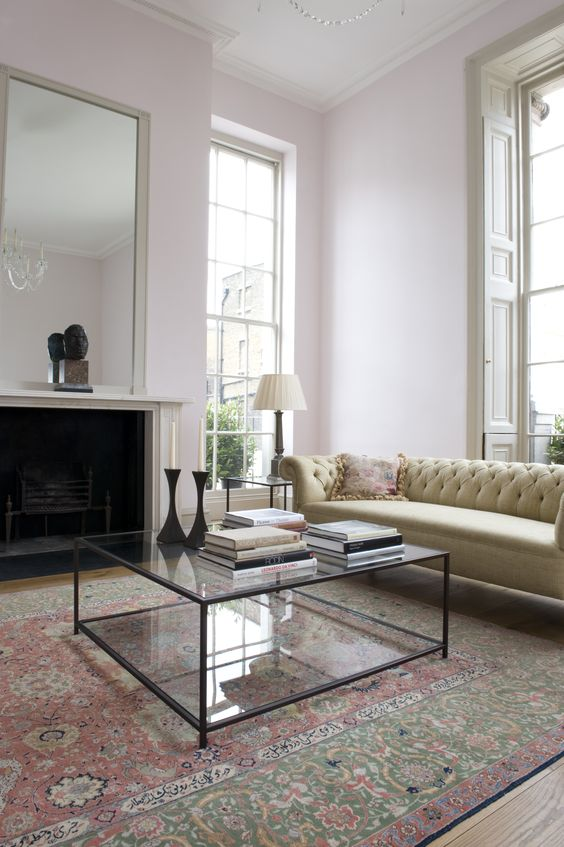 A Black Framed Glass Coffee Table Makes This Vintage Living Room More Modern Part 59
