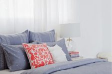 03 blue and white polka dot bedding set with other prints and two acent pillows in white and coral