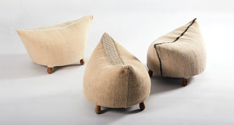 Funny small ottomans or poufs made of linen