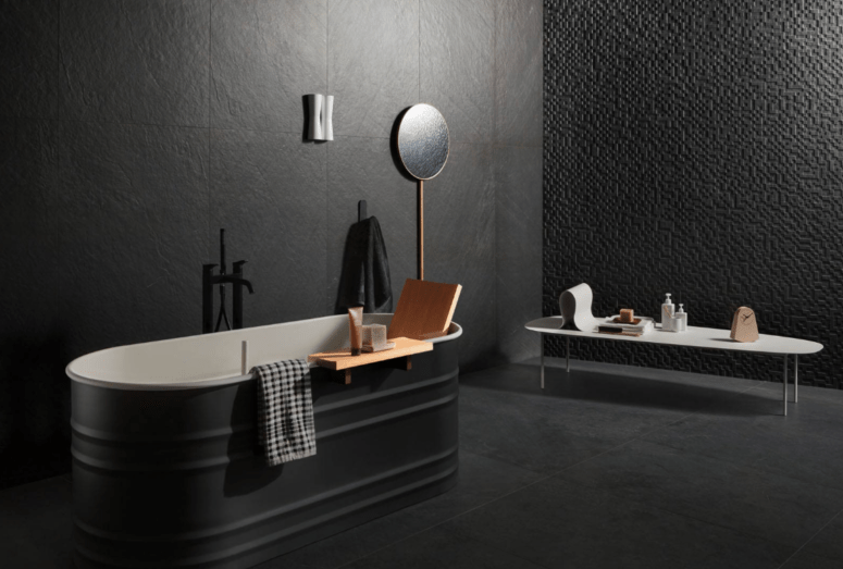 Lavagna tiles are inspired by the darkest slate and are available only in black