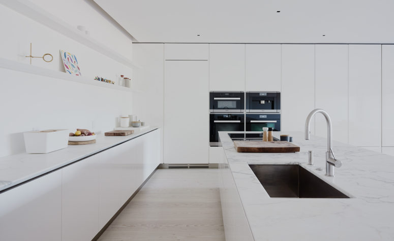 White Kitchen No Handles minimalist white house with a luxury touch - digsdigs
