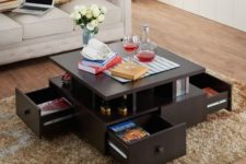 04 a coffee table with open shelving and drawers will save much space