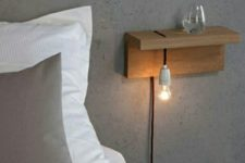 04 attach a piece of wood to the wall and add a bulb – and voila, an industrial nightstand is ready