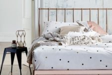 04 small colorful polka dots and neutral pillow cases look whimsy on a copper bed