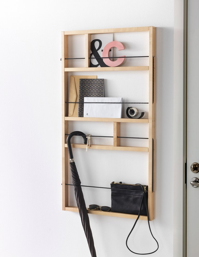Here's another piece from the collection, a wooden plank shelf for the entryway