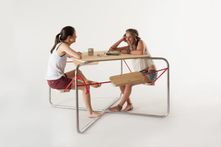 This is a picnic table, the seats of which reind of swings, and you'll have to look for balance too