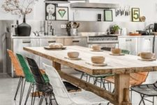 05 a modern industrial-inspired space with colorful chairs is made warmer with a wooden table