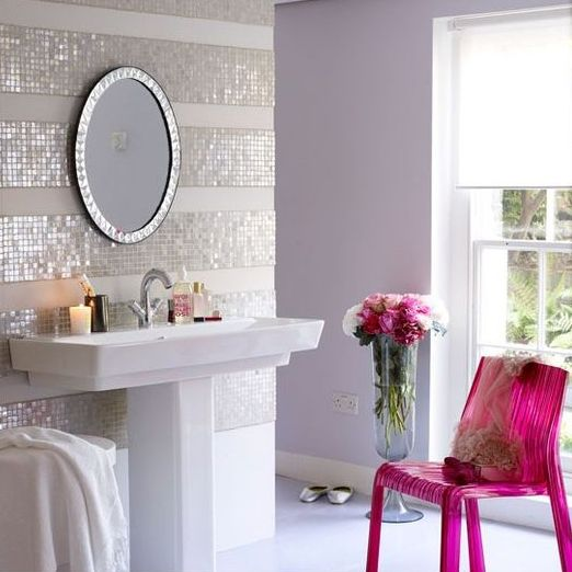 add glam to your girlish bathroom with mosaic tile stripes like these ones