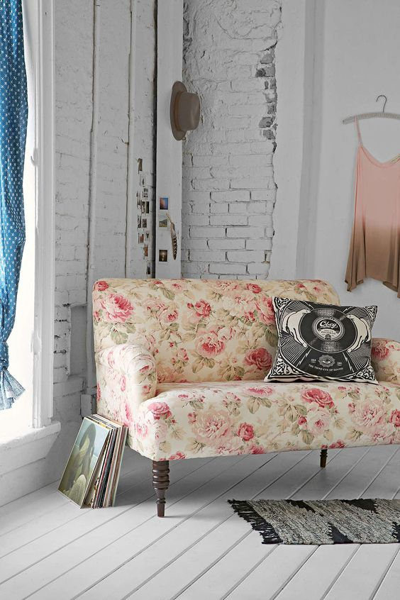 if you want to give your space a girlish feel, there's nothing better than a pink floral print loveseat