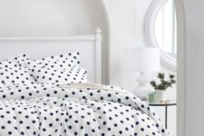 05 white and navy polka dot bedding for a girl's space