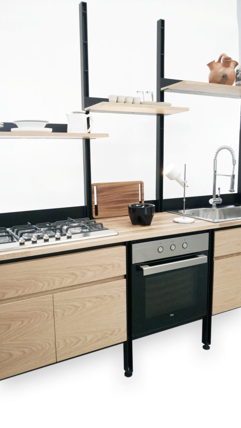 If you don't like a blend of dark steel and light-colored wood, choose other colors of wood
