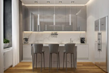 06 White marble, white cabinets and light grey lit up cabinets and chairs look soothing and heavenly