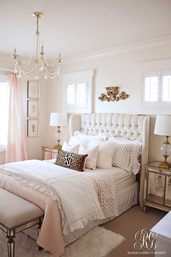 white ruffled and polka dot bedding set for a glam girlish bedroom